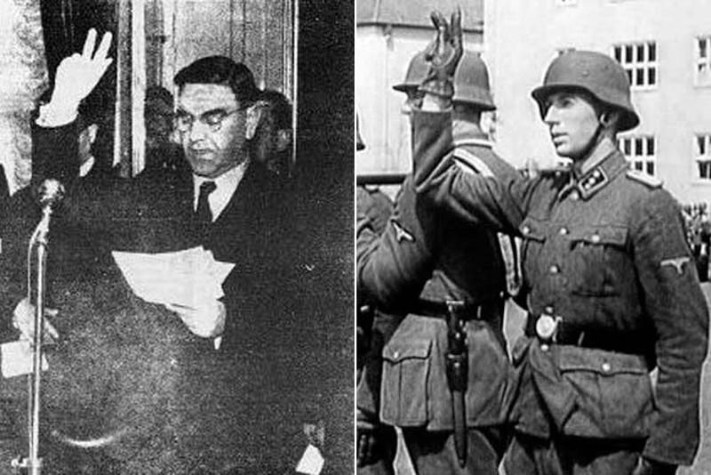 Анте Павелић и усташе приликом полагања заклетве. Са три високо подигнута и раширена прста.