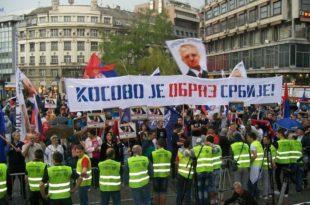 Београд: Протести ДСС-а и СРС-а против бриселског споразума (фото)