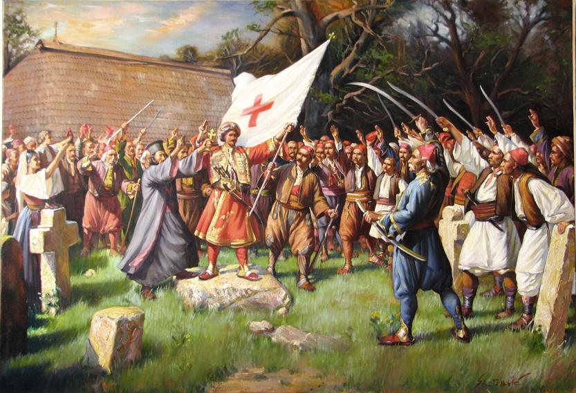 Таковски устанак, паја Јовановић. Обратите пажњу на надгрогбе споменике са Милошеве десне и леве стране стране