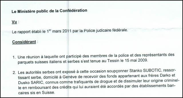 Доказ: Швајцарско тужилаштво потврђује да Станко Суботић никакве везе није имао са браћом Шарић