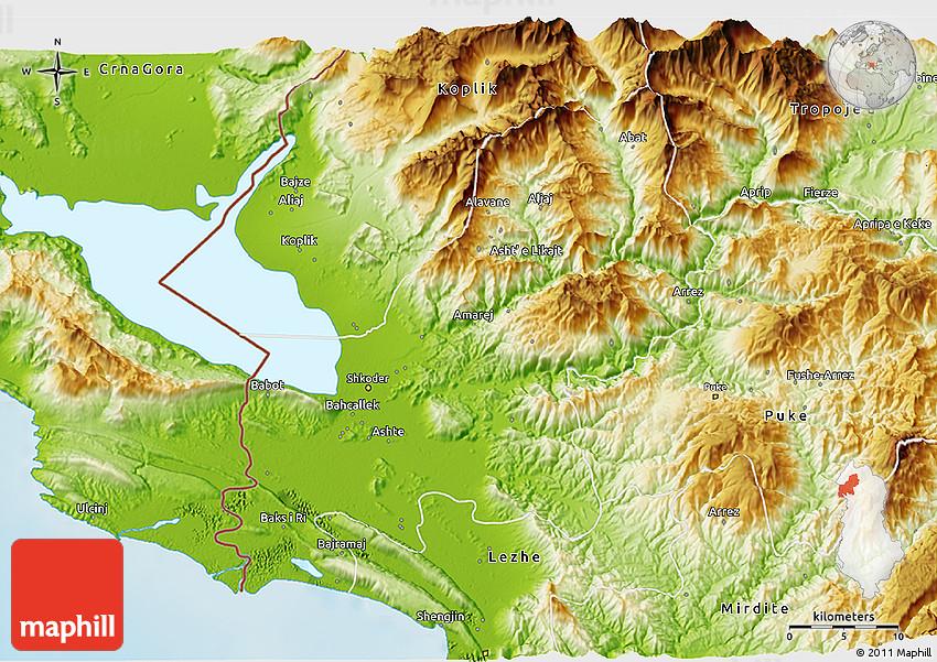 Physical 3d map of Shkodër.