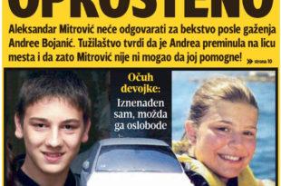 НАПРЕДНА ПРАВДА: Тужилаштво неће гонити сина Жељка Митровића пошто је побегао са лица места након што је убио Андреу Бојанић