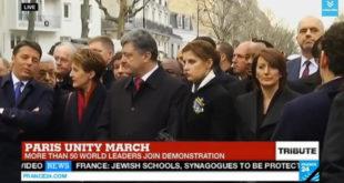 """У Паризу одржан """"Марш солидарности"""" са жртвама терористичког напада, на челу колоне Порошенко који је побио на хиљаде цивила у Украјини! 10"""