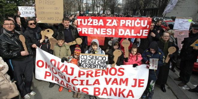 Грађани протествовали испред НБС због кредита у шваjцарцима, прете тужбама