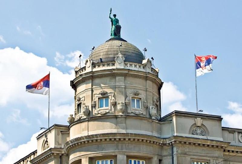Кип вавилонске богиње Иштар на врху зграде Владе Србије