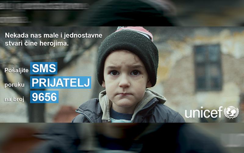 Помозите деци. Цена поруке је 100 дин. Више на www.unicef.rs
