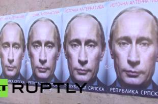 Сребреницa и Братунaц oблепљени портретима Путина (видео)