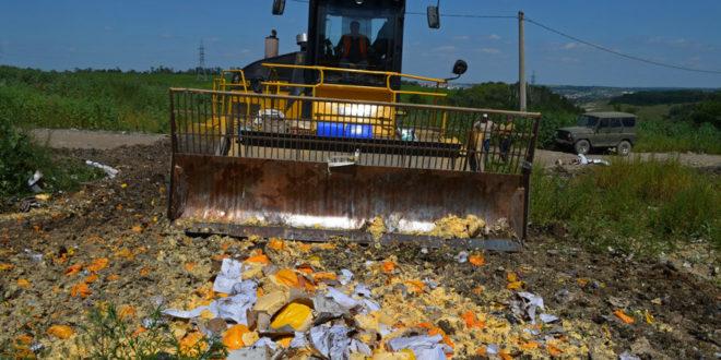 Руси уништавају илегално увезену храну са Запада (видео)