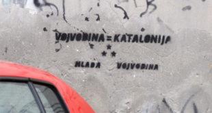 """УСТАШКЕ ПРОВОКАЦИЈЕ У НОВОМ САДУ! Графити """"Војводина = Каталонија"""" осванули су јутрос на неколико локација у Новом Саду 5"""