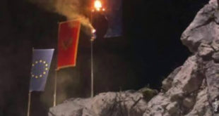 Црна Гора: Запаљена застава НАТО на улазу у Цетиње (видео) 2