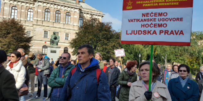 Демонстранти у Загребу траже раскид Ватиканских уговора