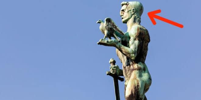 """Споменик """"победнику"""" на Калемегдану представља шиптара са кечетом на глави?"""