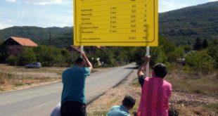 Табла која показује смер исељавања из села постављена код Нишке Бање 11