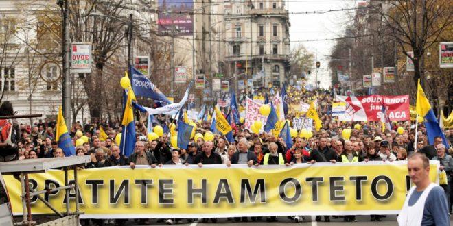 Протест радника Поште у центру Београда 1