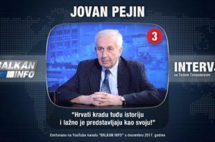 ЈОВАН ПЕЈИН: Хрвати краду туђу истрију, њихови историчари халуцинирају (видео)