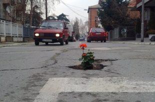 Кладовљанима дојадиле уличне рупе па у њих засадили цвеће