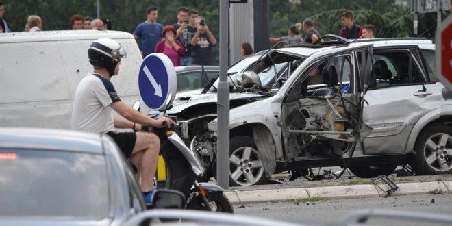 Београд као дивљи запад, експлодирао џип у покрету 1