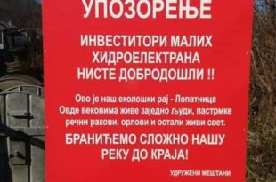 Против мини хидро електрана људи, рибе и ракови!