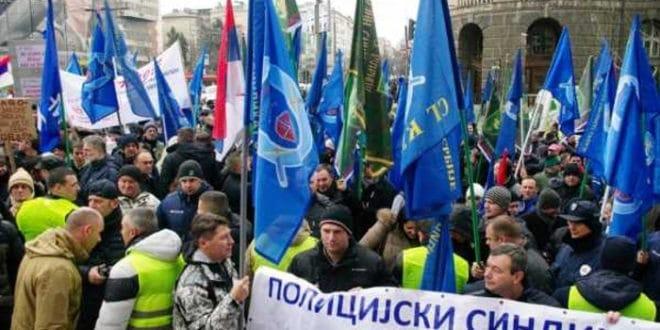 Протест Полицијског синдиката испред МУП Србије 1
