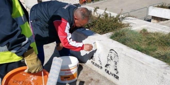 Локална власт у Нишу наредила да се прекрече графити са ликом Оливера Ивановића 1