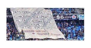 """Навијачи Слована из Братислава истакли транспарент """"И најгорем се прашта, Ал' за отаџбину гине - Космет вечно земља наша"""" 4"""