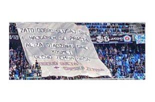 """Навијачи Слована из Братислава истакли транспарент """"И најгорем се прашта, Ал' за отаџбину гине - Космет вечно земља наша"""""""