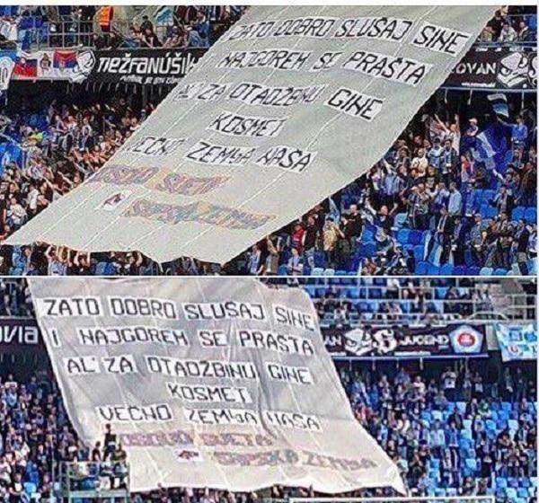 """Навијачи Слована из Братислава истакли транспарент """"И најгорем се прашта, Ал' за отаџбину гине - Космет вечно земља наша"""" 1"""