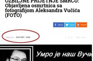 Умрлица за Вучића коришћена је у сличној црној режимској пропаганди још 2017. године