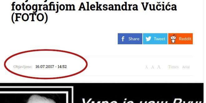 Умрлица за Вучића коришћена је у сличној црној режимској пропаганди још 2017. године 1
