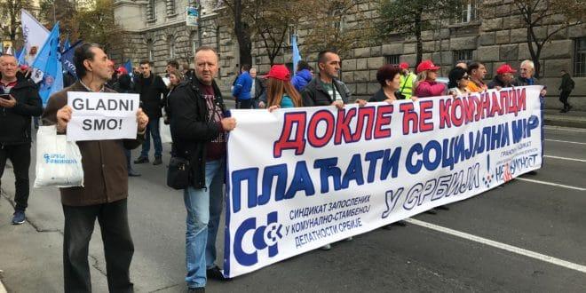 Блокиран центар Београда због протеста комуналаца