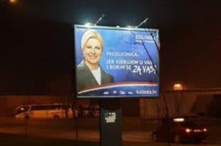 У Суботици постављен предизборни билборд проусташке хрватске председнице Колинде Грабар Китаровић