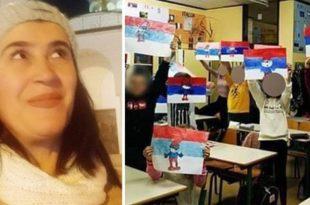 Подршка учитељици у Бару коју дисциплински гоне због српске заставе коју су цртала деца у школи (фото)