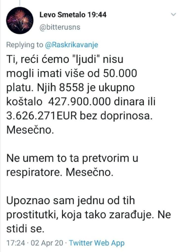 8.558 Вучићевих ботова нас сваки месец коштају 4.000.000 евра! Колико смо респиратора могли та купимо за тај новац?