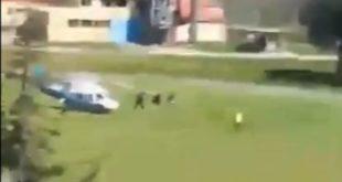БАХАТО Вучић у Ниш стигао полицијским хеликоптером (видео)