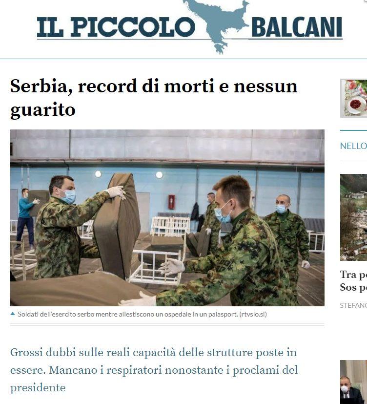 Италијански медији: Србија има највећу стопу смртности од корона вируса на Балкану!