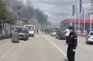 Прво се чула јака детонација: Пожар у државном магацину робних резерви у Лесковцу (видео)