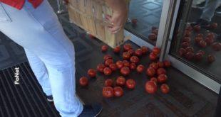 Београд: Произвођачи незадовољни откупном ценом и увозом из Албаније, просули гајбе парадајза испред Министарства пољопривреде