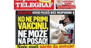 ВУЧИЋЕВИ СЕКТАШКИ МЕДИЈИ: Ко се не вакцинише неће моћи да ради и да путује!