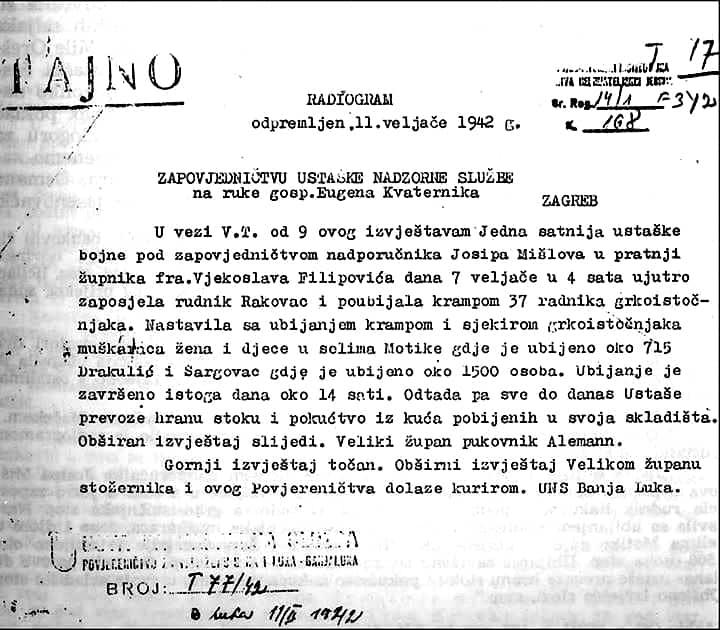 Бањалука: Служен помен за 2.315 Срба, међу којима и 551 дете, које су пре 79 година зверски убиле усташе