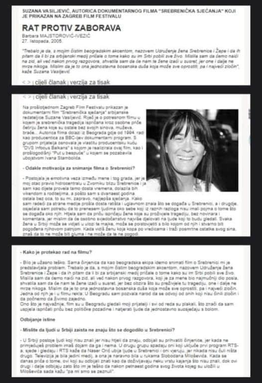 """Вучићева """"саветница"""" Сузана Васиљевић снимила анти-српски пропагандни филм о Сребреници!"""