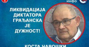 ИНТЕРВЈУ: Kоста Чавошки - Ликвидација диктатора грађанска је дужност! (видео)