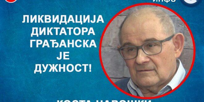 ИНТЕРВЈУ: Kоста Чавошки – Ликвидација диктатора грађанска је дужност! (видео)