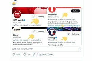 Твитер означио медије који служе Вучићу