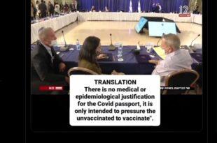 """Израел: Ухваћени у приватном разлогу """"ковид пасоши су медицински неоправдани, само притискамо људе""""! (видео)"""